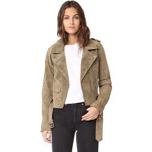 Driftwood Suede Moto Jacket in Dark Olive